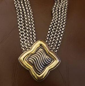 David Yurman 18kt gold & sterling silver Trefoil